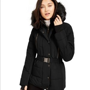 MK Active Belted Faux-Fur-Trim Puffer Coat